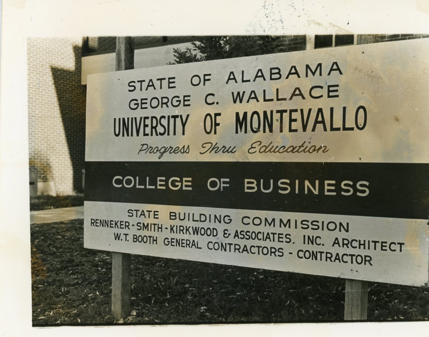 Here is a sign placed outside of the construction site when Morgan Hall was being built by the State Building Commission.