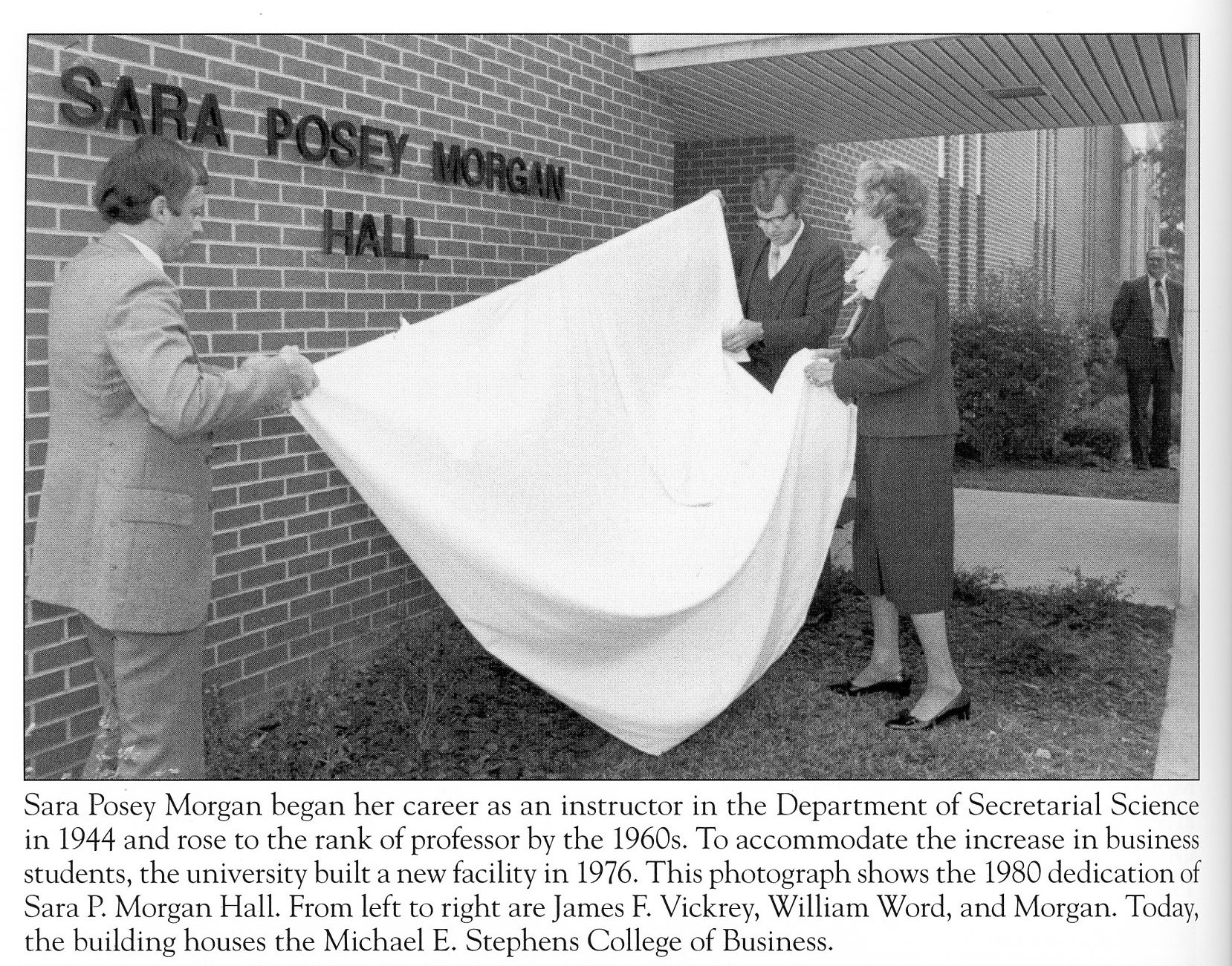 "This scan features an image and caption from the book called ""Images of America Montevallo"" and pictures the unveiling of the sign that dedicated the building to Sara P. Morgan in 1980."