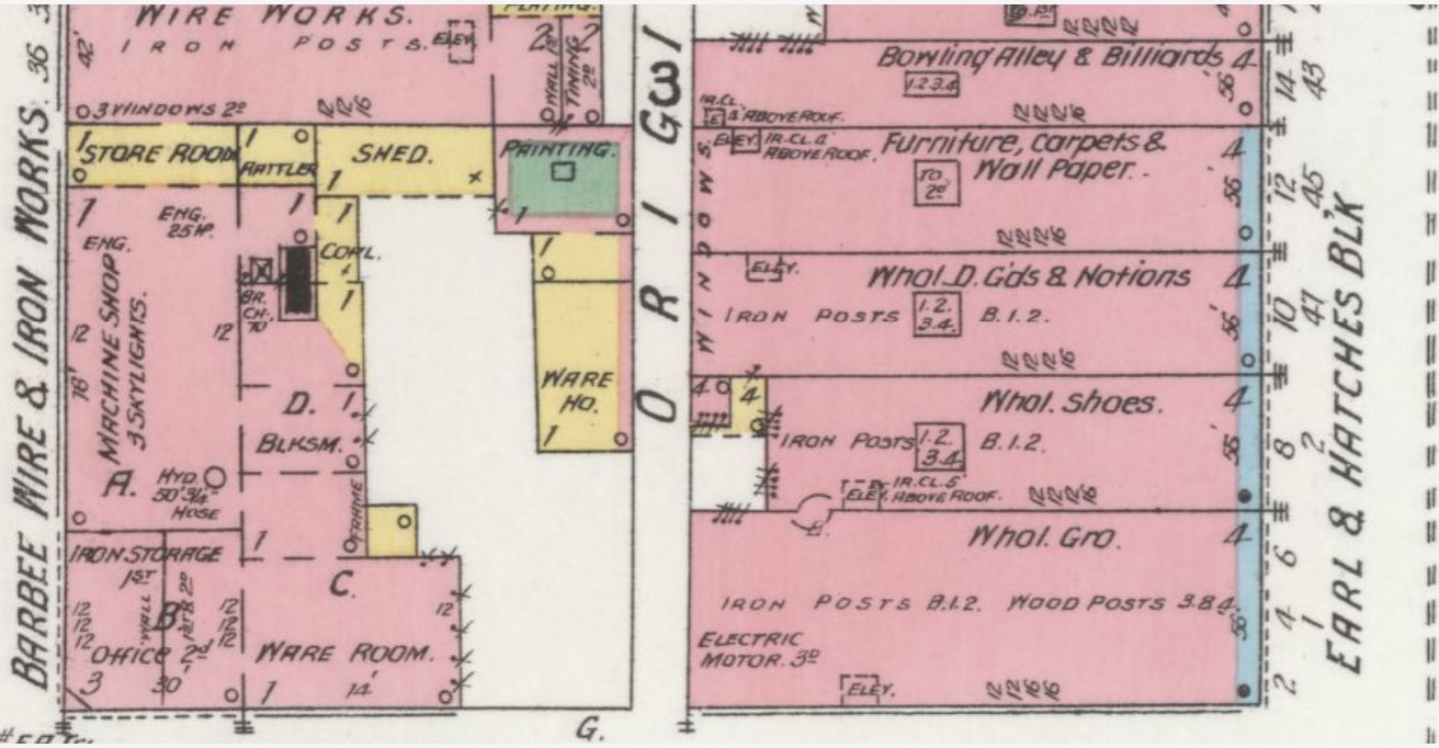 Earl and Hatcher Block (lower right) at 2 to 12 N. Third St. in 1899 (Sanborn Map Company p. 14)