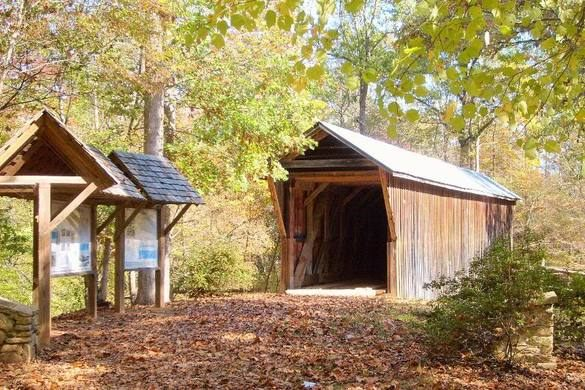 The Bunker Hill Covered Bridge on a beautiful autumn day