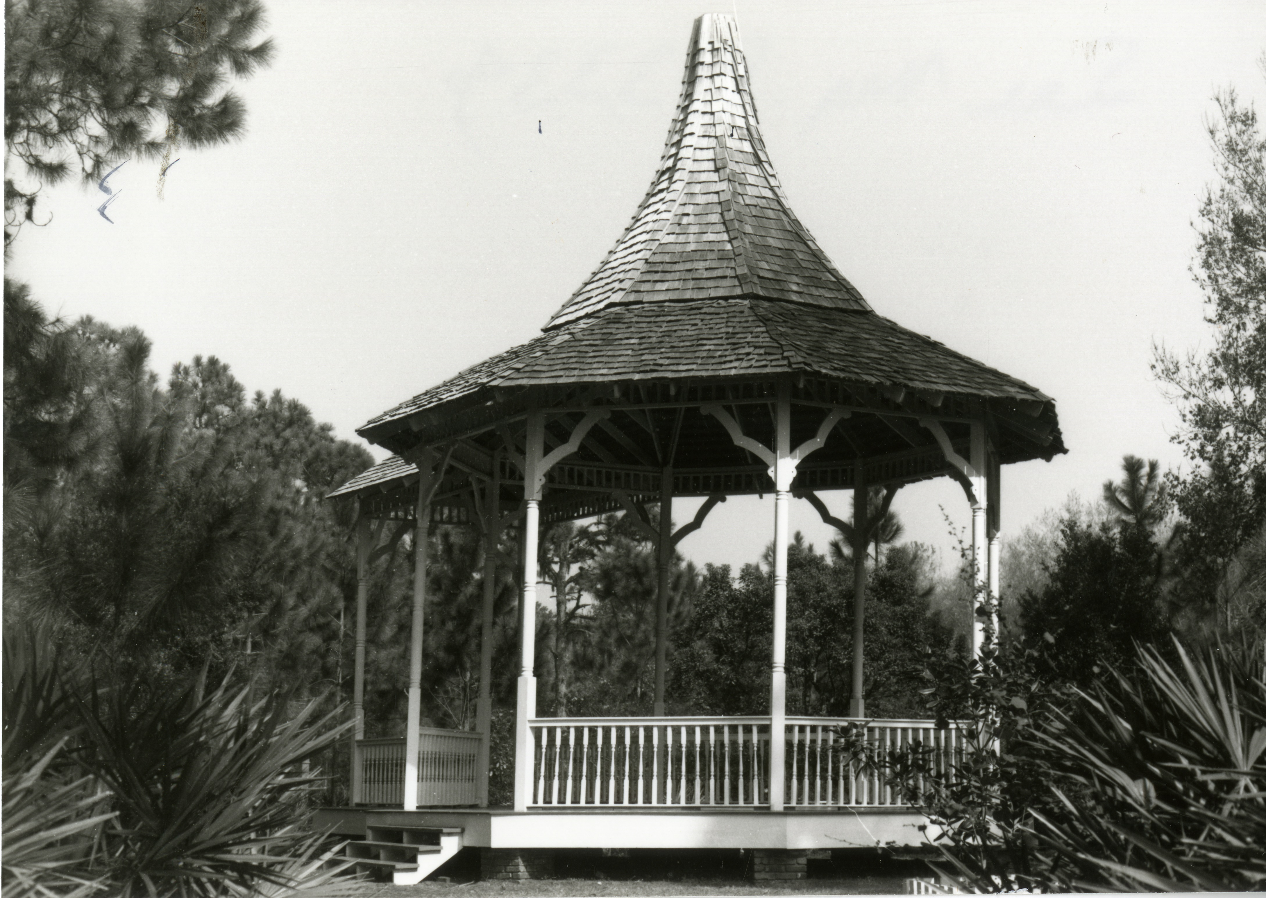 Williams Park Bandstand replica at Heritage Village, Largo, Florida, in 1987. The original bandstand was destroyed in the Tampa Bay Hurricane of 1921.