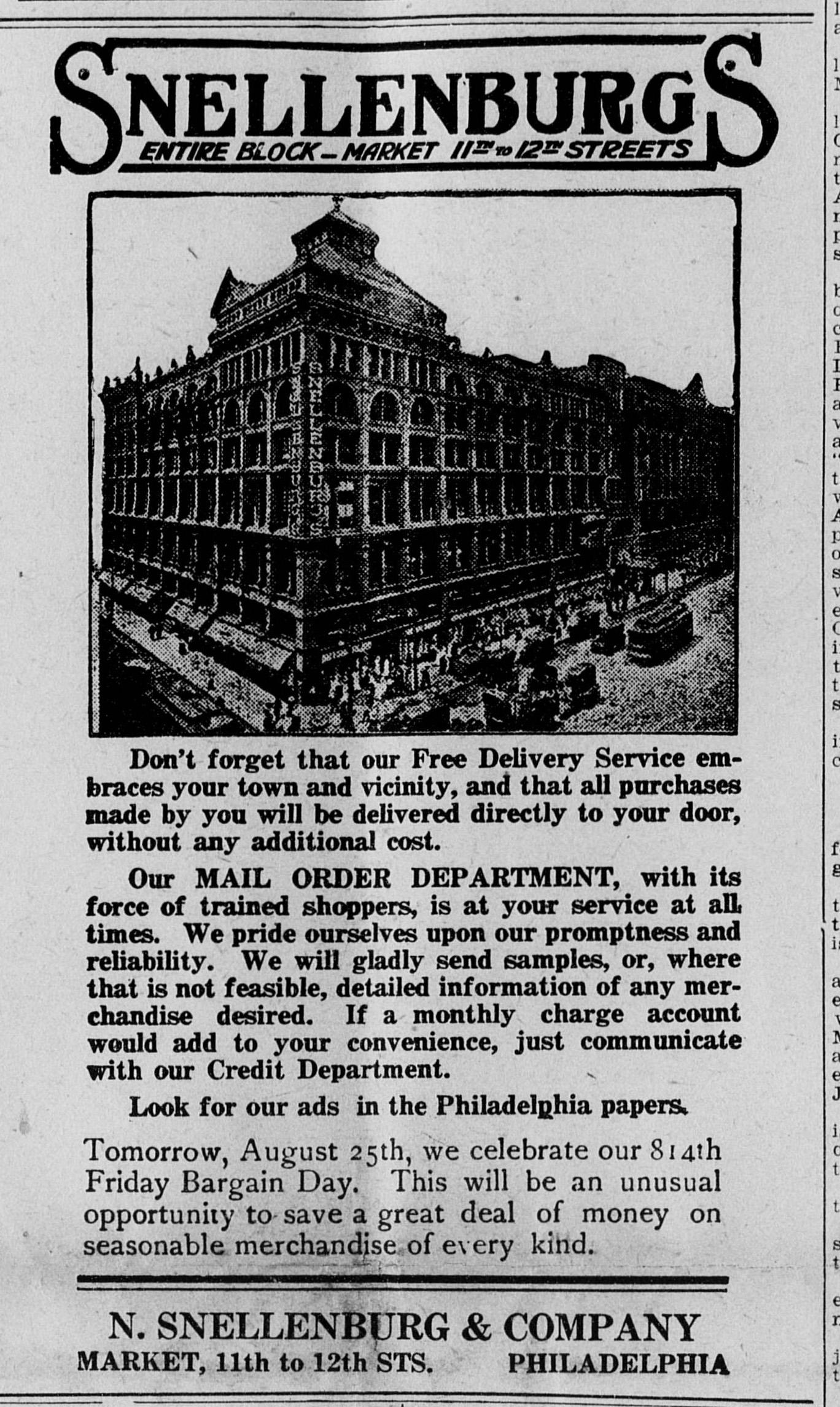 Snellenberg Department store advertisement, 1916