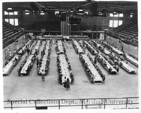 Political event and dinner, Memorial Field House, ca. 1950's