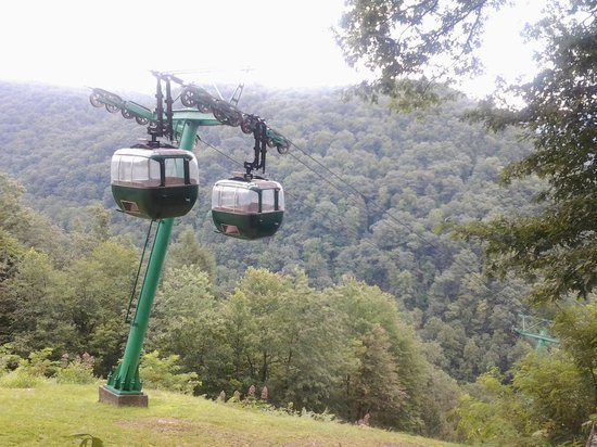 The aerial gondolas in the park. The aerial tramway was built in 1970 and provides visitors a dramatic view down the mountain to the river, where jet boat rides are also available.
