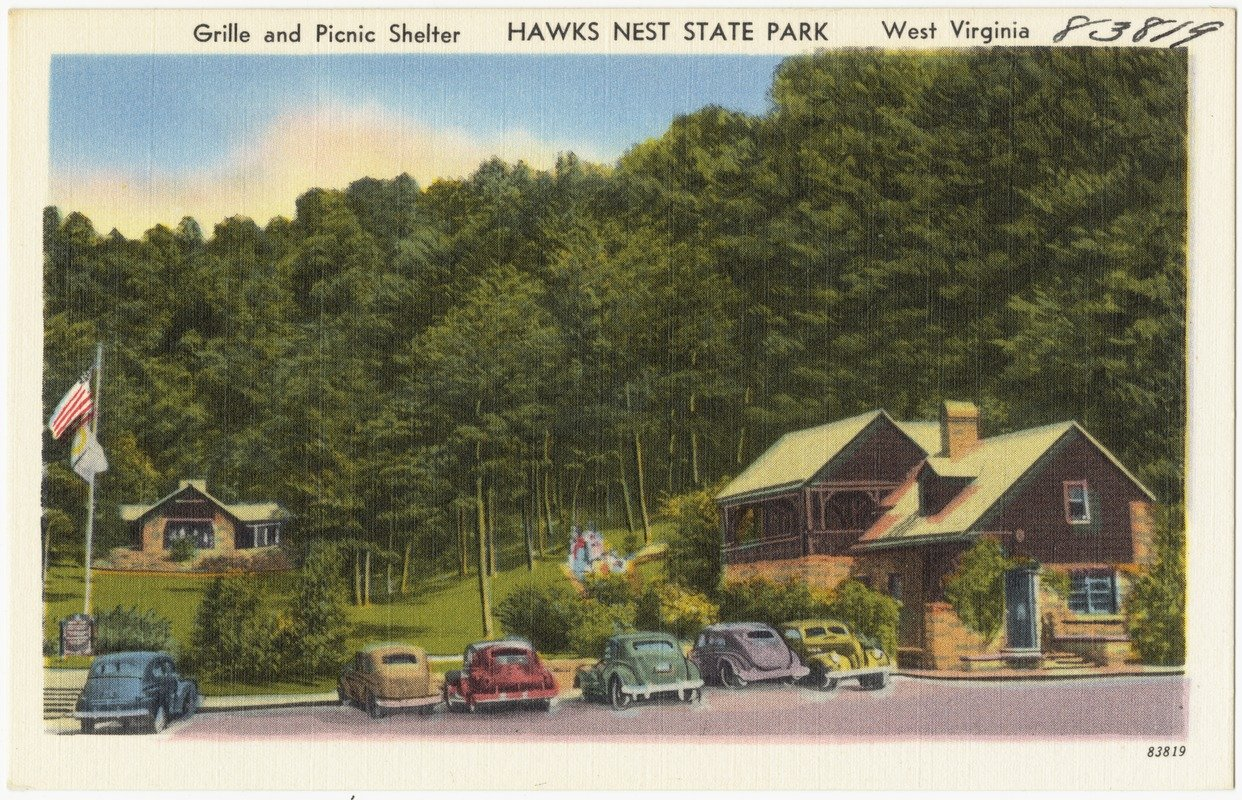 Postcard depicting the Grille and picnic shelters circa 1930-45.