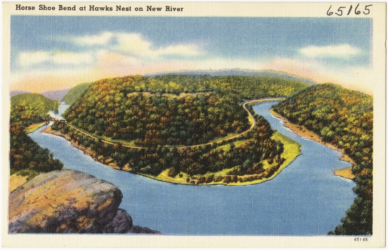 Postcard showing the beautiful horseshoe bend of the New River circa 1930-45.