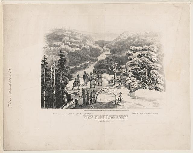 1862 print showing the view from Hawks Nest towards the East. Union troops had an outpost in the area at the time, which was hastily evacuated during the Confederate invasion in August of that year.
