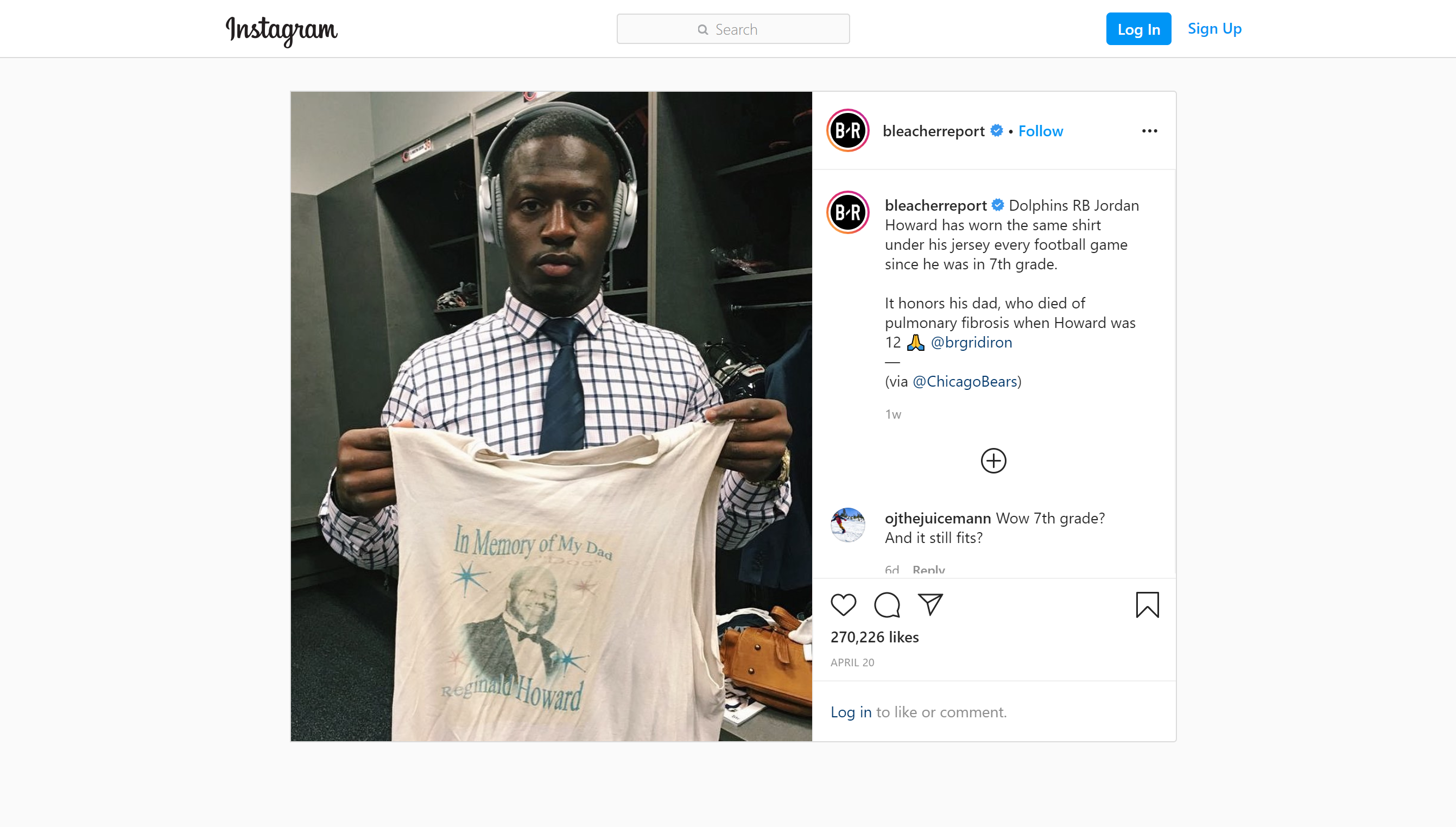 NFL running back Jordan Howard shows off the shirt he has been wearing under his pads since he was in the 7th grade.