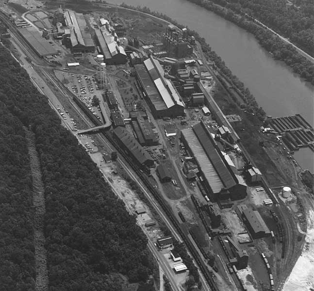 An aerial view of the plant circa 1950.