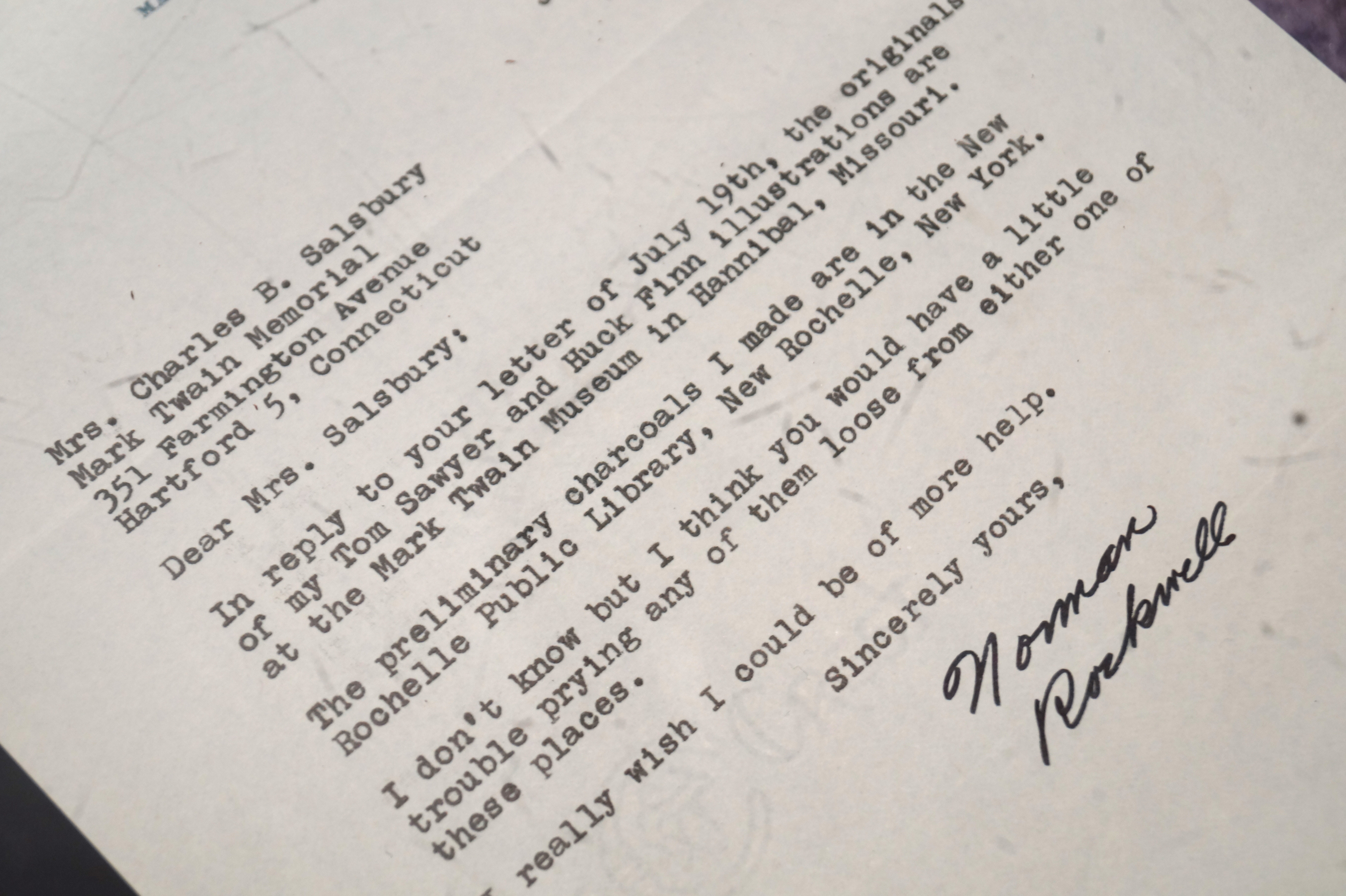 In 1967 Edith Salsbury wrote a letter to famed American illustrator Norman Rockwell inquiring about his original illustrations for The Adventures of Tom Sawyer and Adventures of Hucklebury Finn.