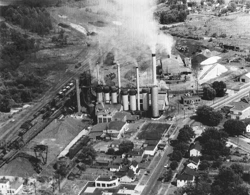 An aerial shot of the Globe Iron Company plant