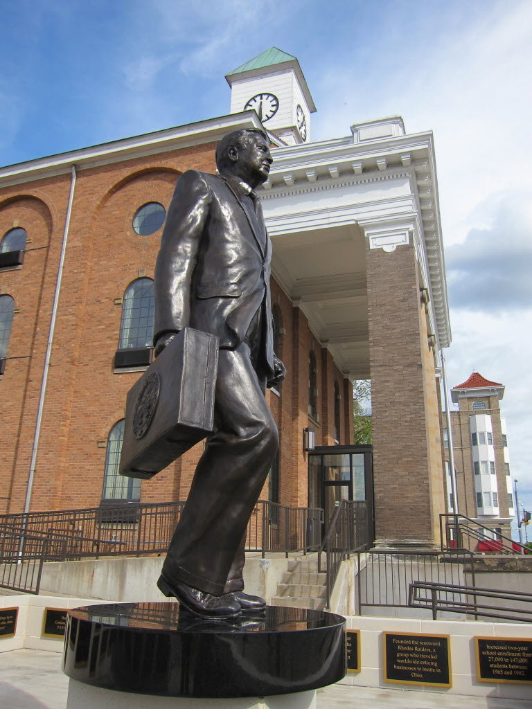 The statue of James A. Rhodes