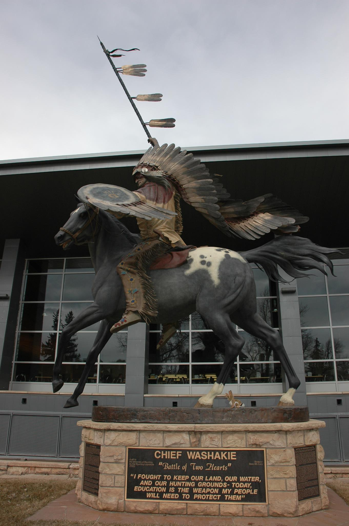 "The monument on the University of Wyoming campus depicts Chief Washokie after his victory at the Battle of Crowheart Butte. Artist Dave McGary titled his work the ""Battle of Two Hearts."""
