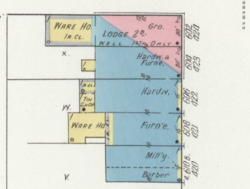 Masonic Lodge building at 602-604 High Street on 1912 Sanborn map (p. 2)