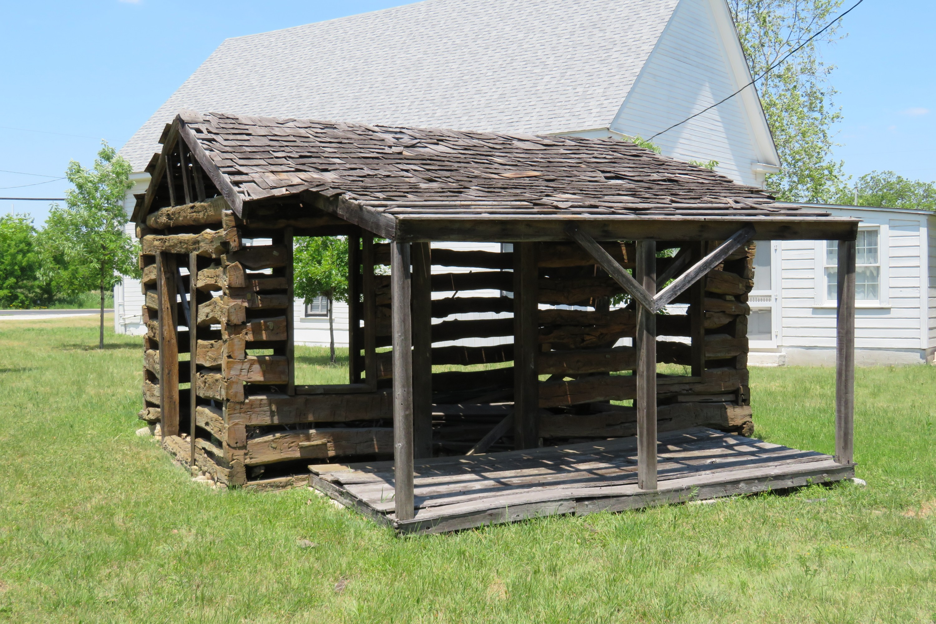 This cabin is located near the chruch