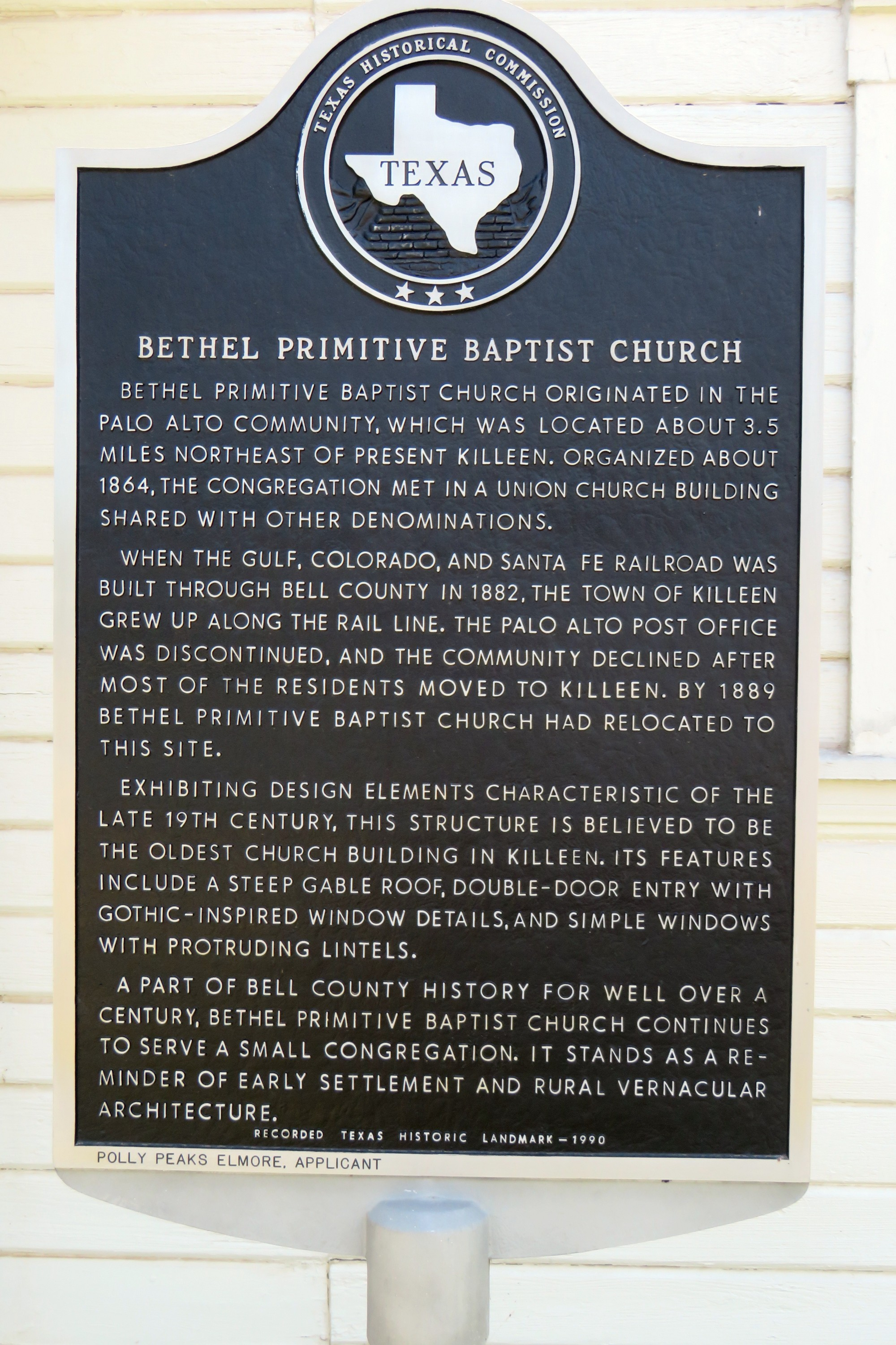 The front of the church includes an official state of Texas historical marker