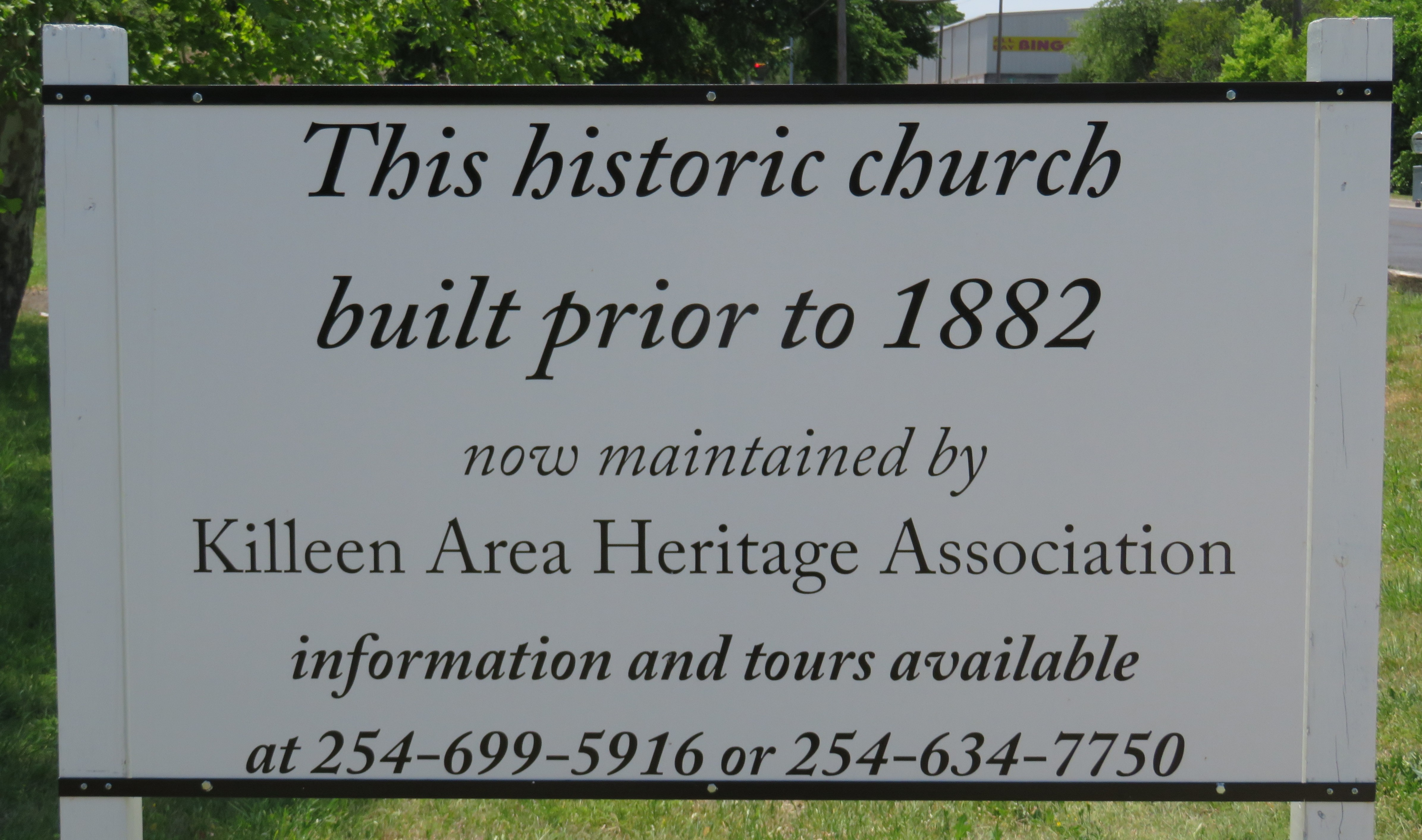 The exact date of the church's construction is unknown but given the decision to move the church to Killeen from Palo Alto, it can be assumed that it was constructed in or prior to 1882.