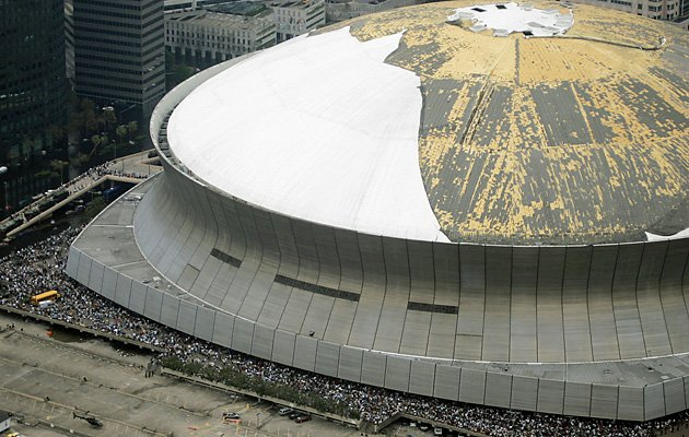 Extensive damage to the outer-most layer of the Superdome due to Hurricane Katrina
