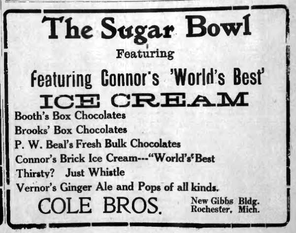 Newspaper advertisement for the Cole Brothers Sugar Bowl in the Gibbs Block, 1921