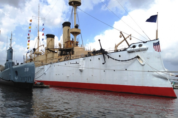The Olympia and Becuna on display at the Independence Seaport Museum. CREDIT: INDEPENDENCE SEAPORT MUSEUM