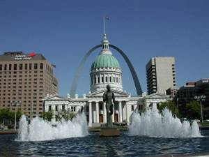 View of Old Courthouse and Gateway Arch from Kiener Plaza.
