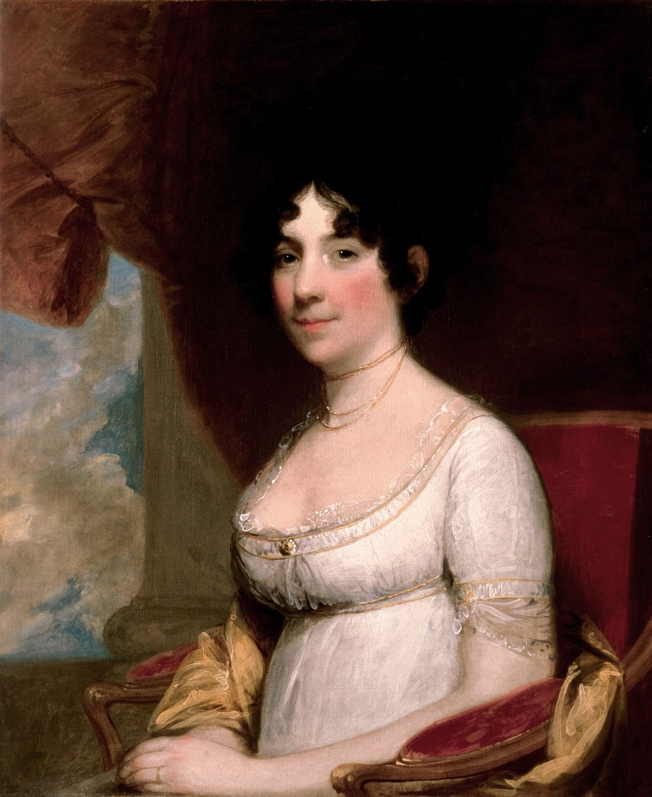 Dolley Madison was the fourth First Lady of the United States, an approachable, social, and elegant figure beloved by the public. Wikimedia Commons.