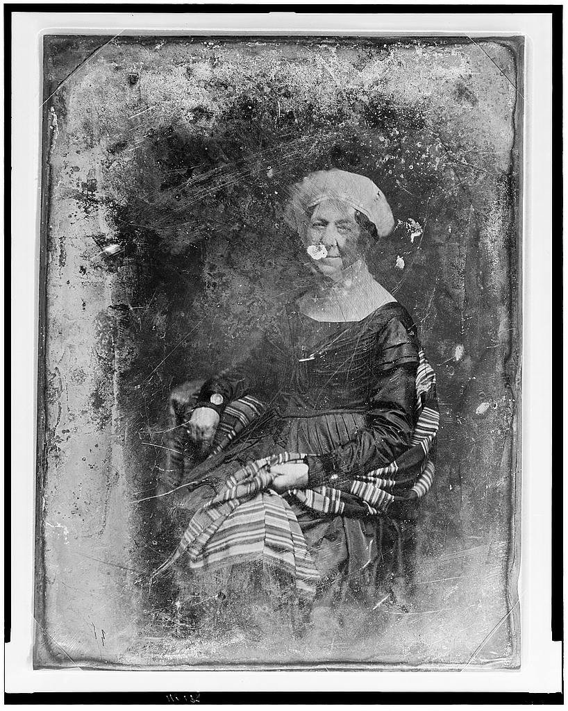 This 1848 image of Dolley Madison, captured by famed Civil War photographer Mathew Brady, is the earliest known photograph of a First Lady. Wikimedia Commons.