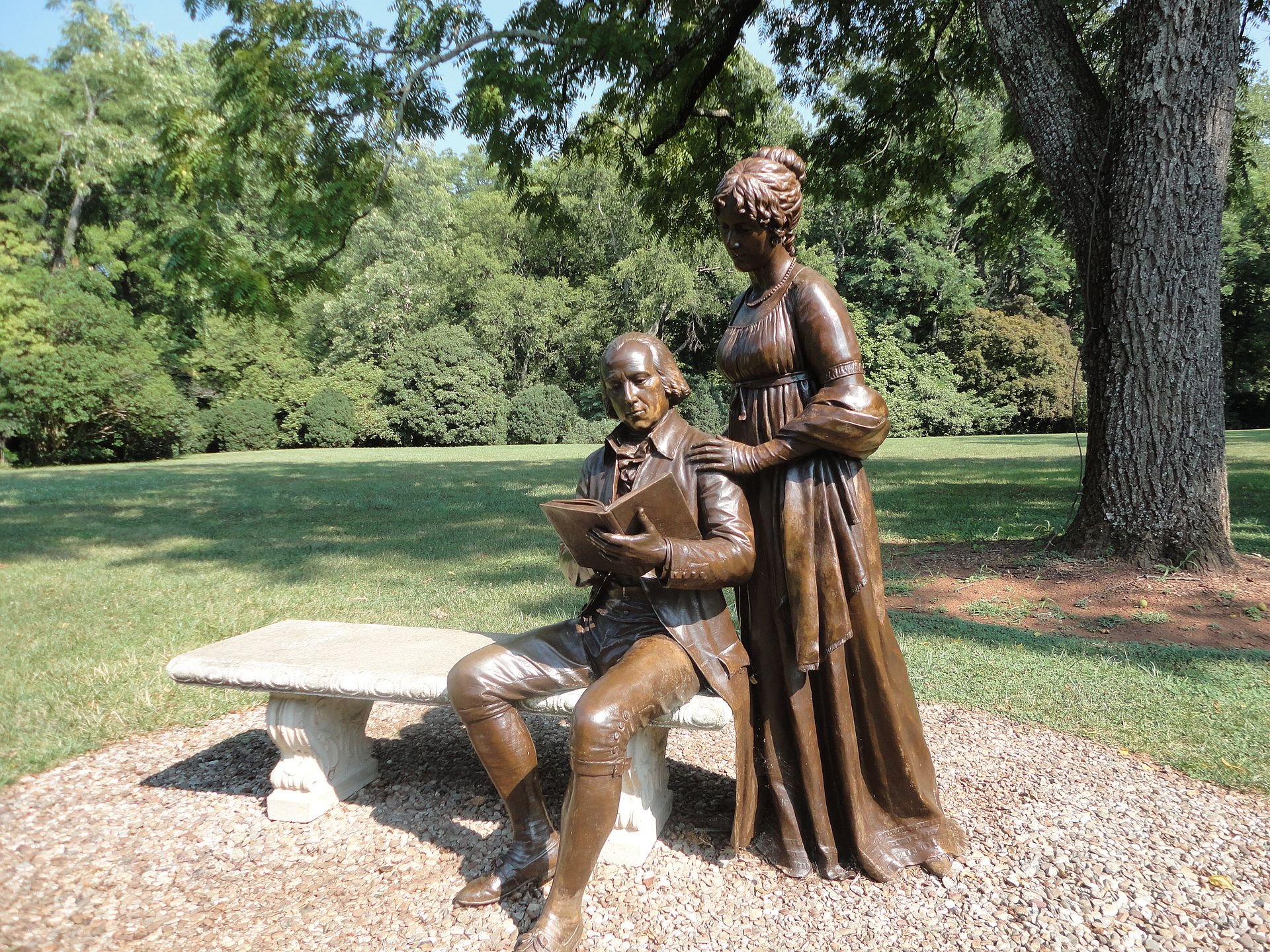 A broze sculpture of James and Dolley Madison at Montpelier.