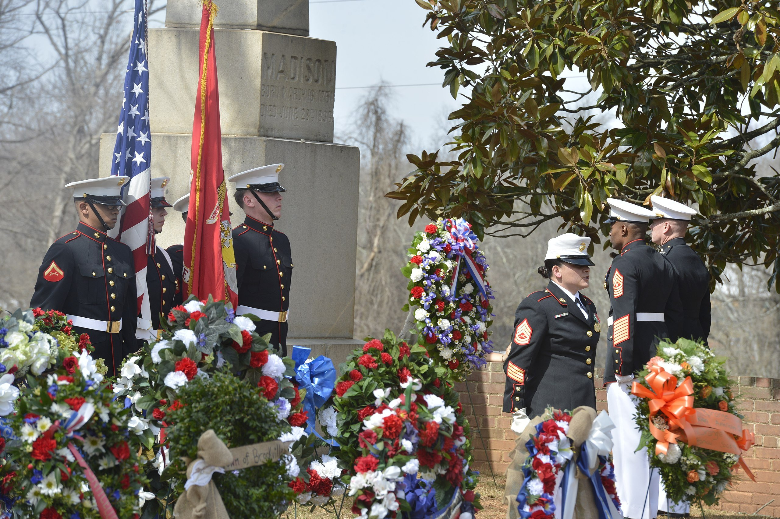 The United States Marine Corps honors the birthday of James Madison by laying a presidential wreath. Wikimedia Commons.