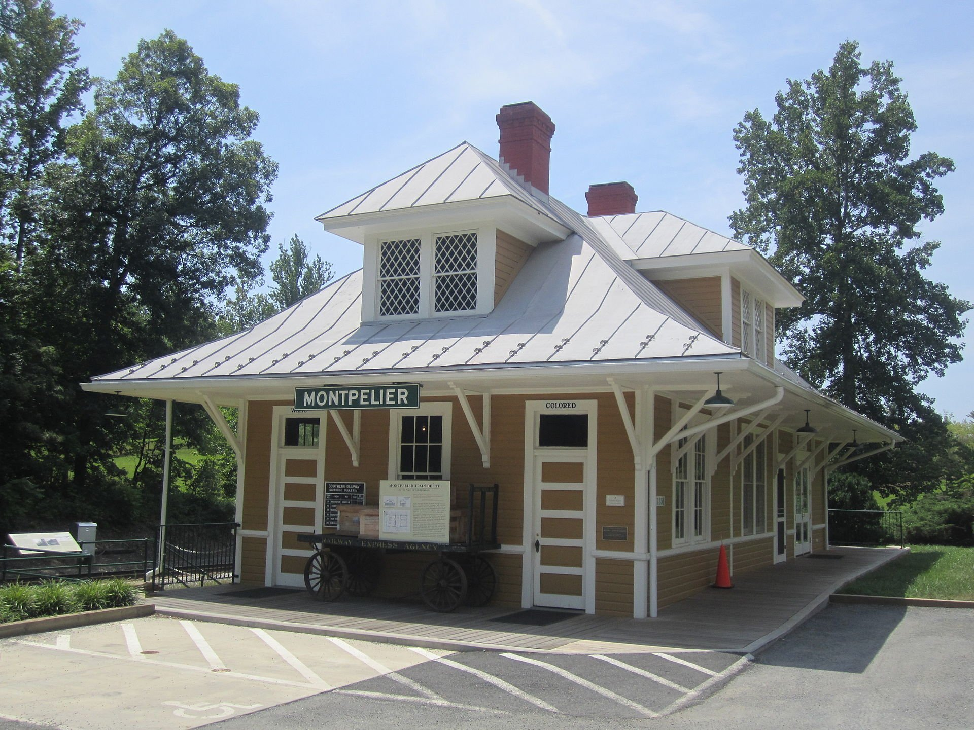 A historic train depot, restored to its 1910s appearance, interprets the history of segregation and Jim Crow in Virginia. Wikimedia Commons.