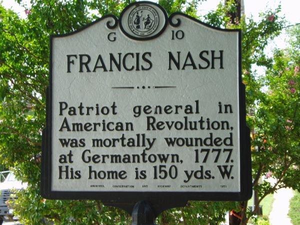 A historical marker of Francis Nash