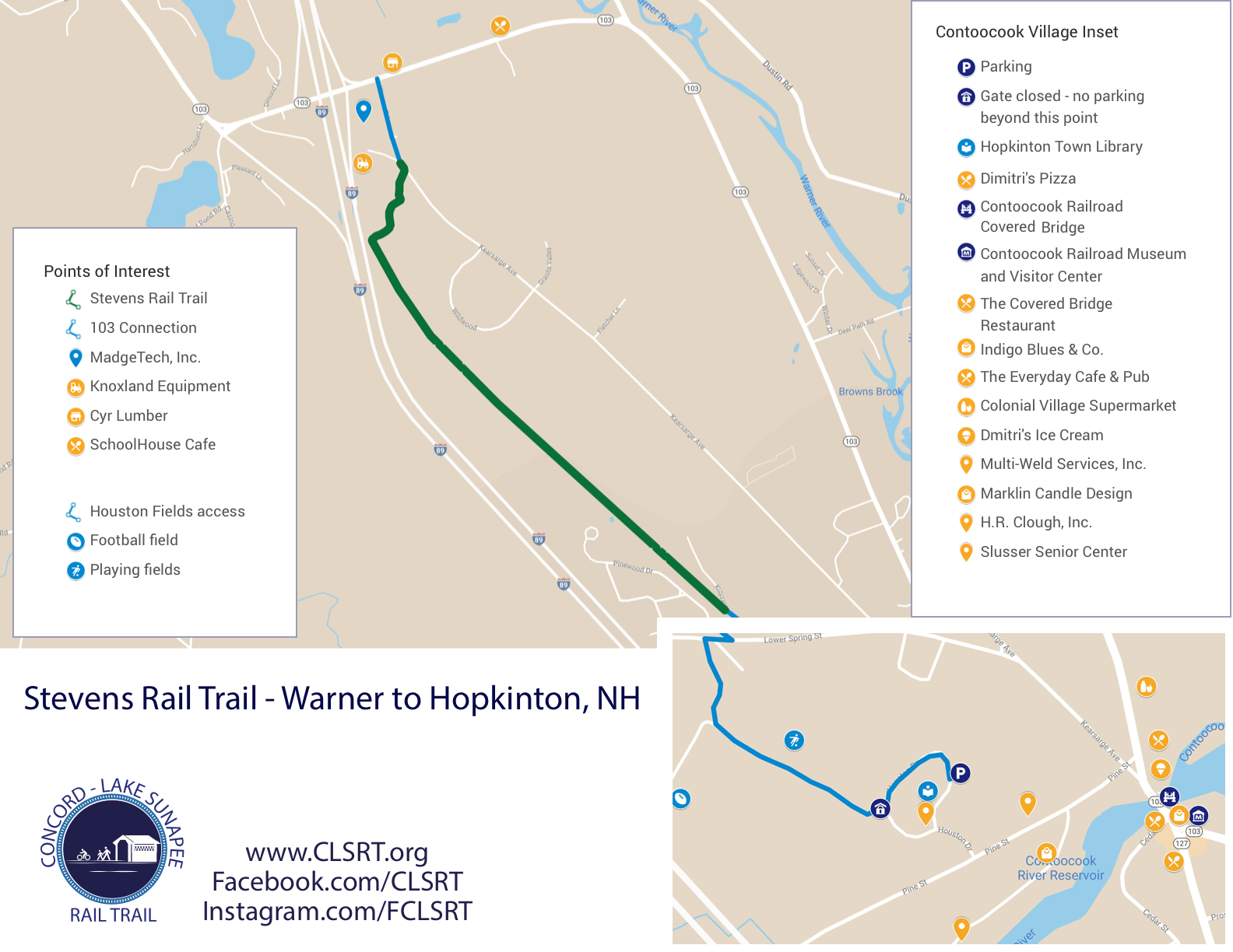 Map of the Stevens Rail Trail.