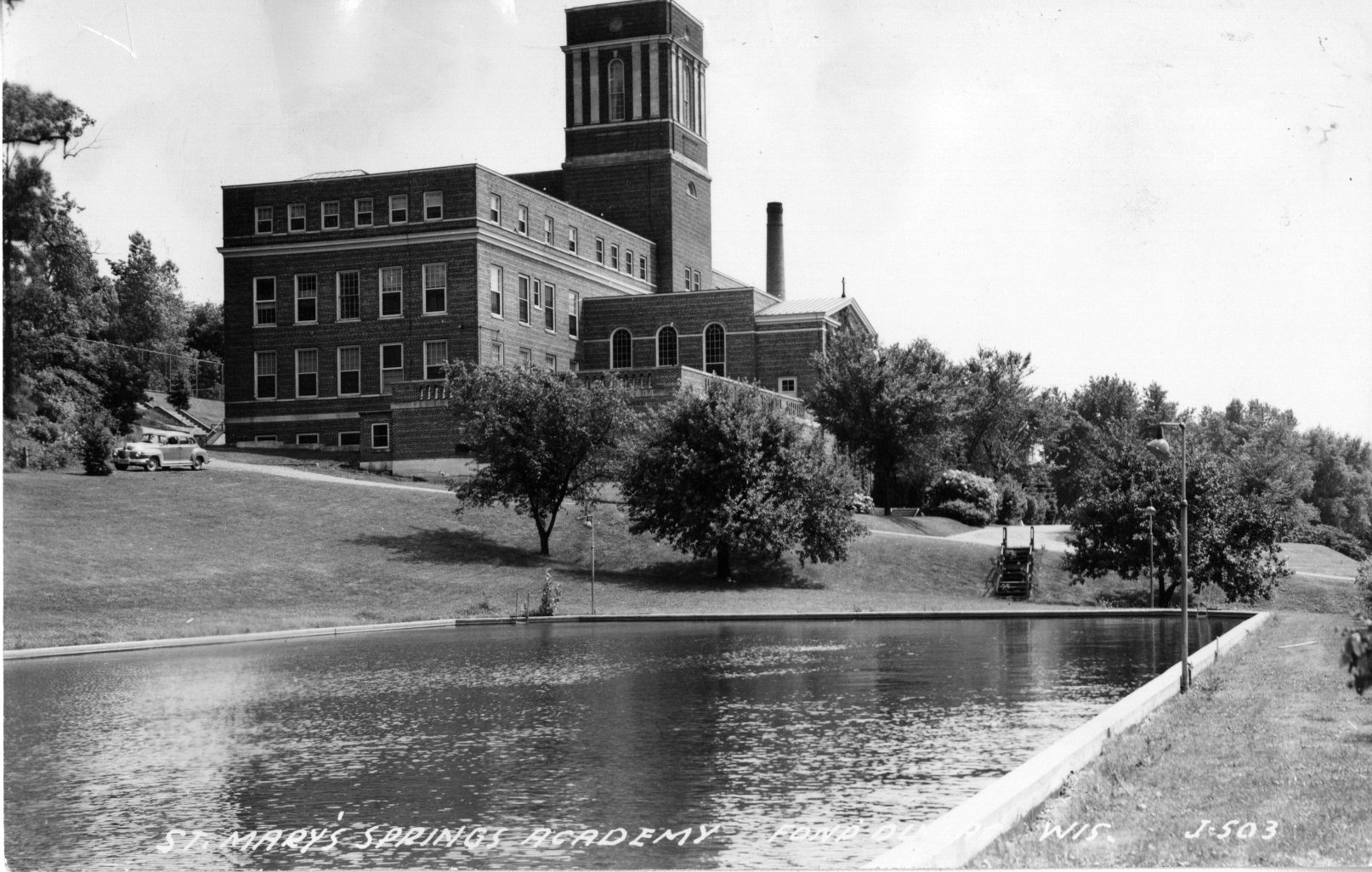 St. Mary's Springs Academy with the swimming pool in the foreground, 1930s.