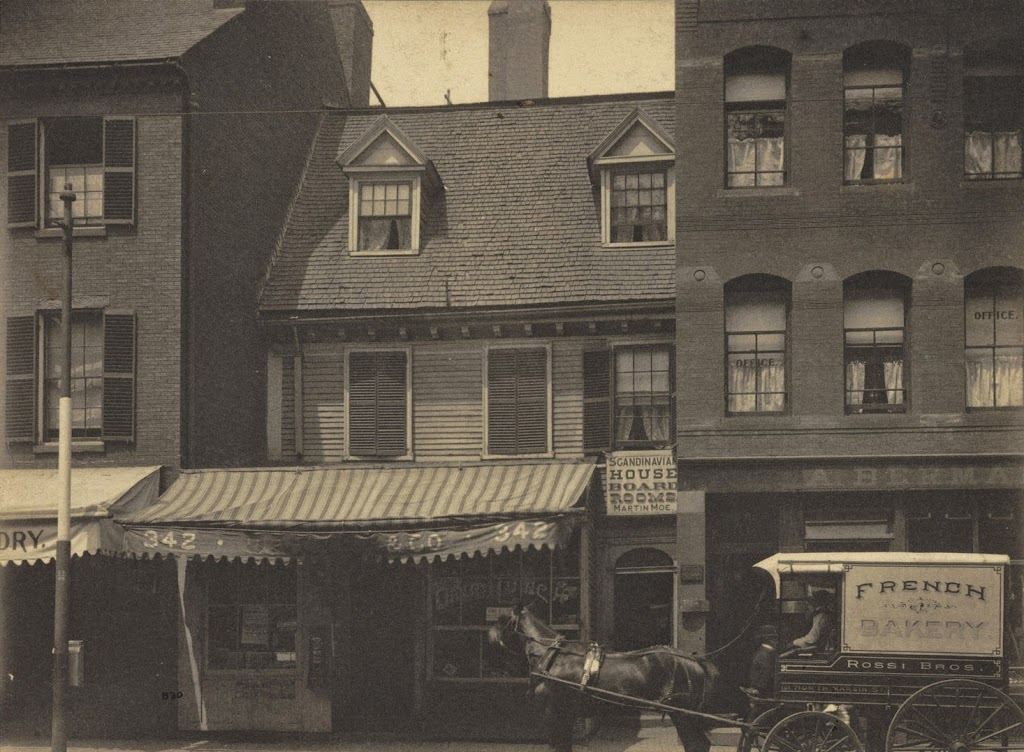 The original Mather-Elliot House, before it was replaced by updated buildings
