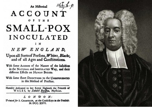 The preacher, Cotton Mather, and a pamphlet on the benefits of smallpox vaccines.