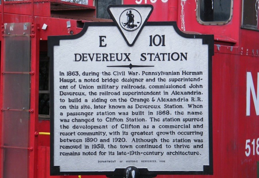 This marker offers a short history of Devereux Station