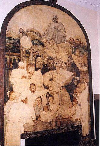 "One of Alston's murals at Harlem Hospital Centers, entitled ""Modern Medicine."""