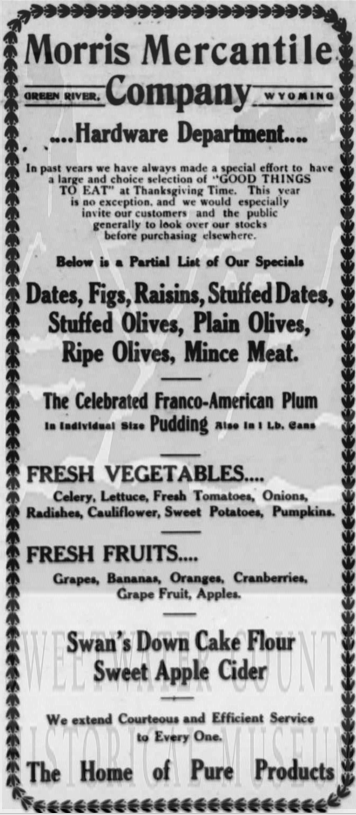 A thanksgiving ad from 1915 for the Morris Mercantile