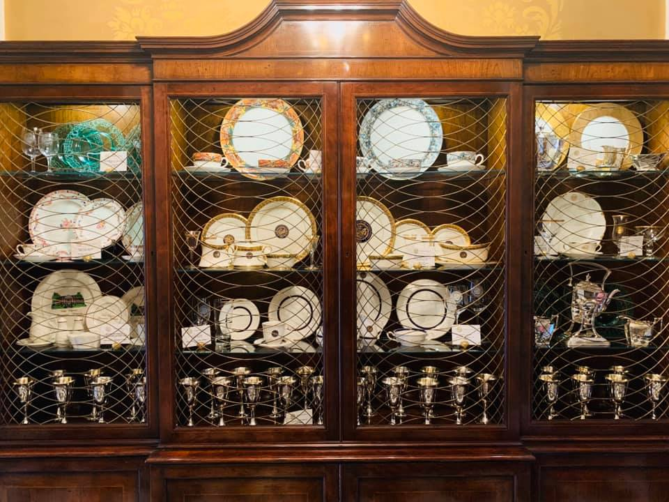 Cabinet Set of All the Silverware, Porcelain and Glassware Used at Mansion