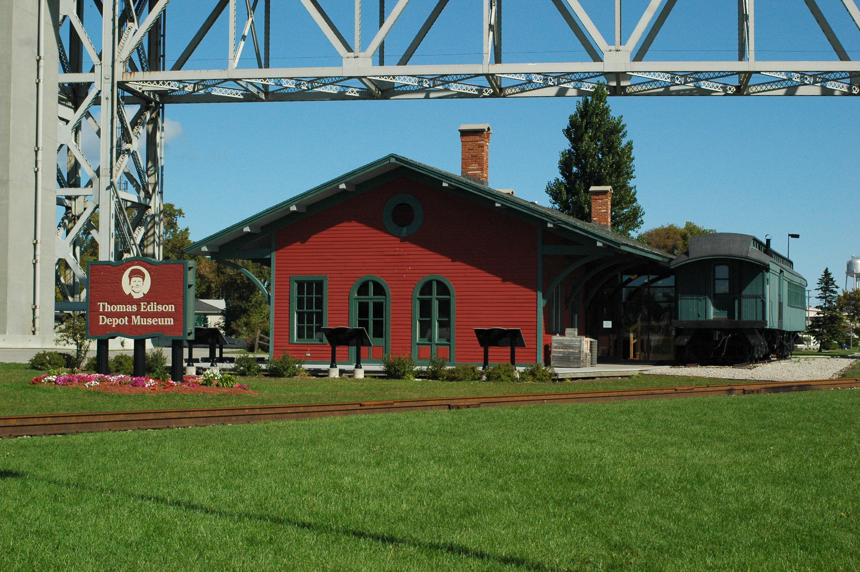 The train depot that is now the museum where Thomas Edison worked out of as a reporter.