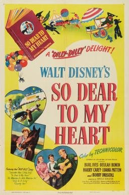 "The movie poster for the 1949 release of ""So Dear to My Heart,"" a film set in Indiana but inspired by Disney's youth and time spent in this barn."