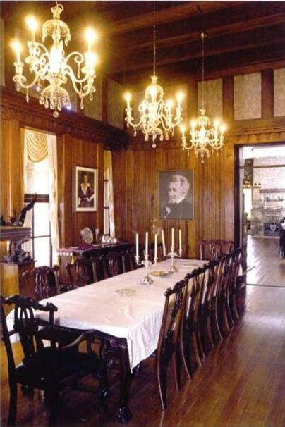 This is a picture of the extravagent dining room within the Berkeley Springs Castle.