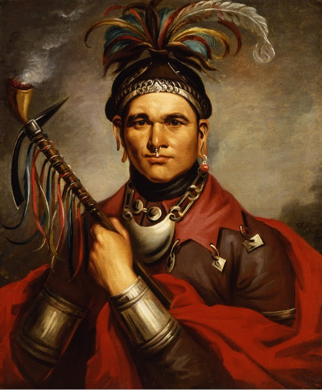 A similarly fanciful painting of Chief Cornstalk. During the American Revolution, Cornstalk traveled back to warn the colonists that Britain was seeking to ally with the Shawnee. Suspicious, the colonists imprisoned him, and he was murderd in 1877.