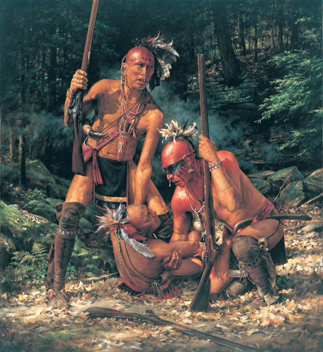 A painting of Shawnee warriors in battle. Many colonists felt the Shawnees were the fiercest and most dangerous of the tribes along the frontier, renowned for bravery in battle. Courtesy of Warfare History Network.