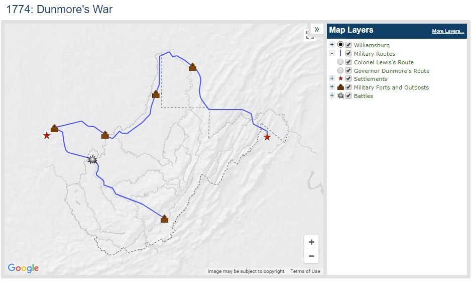 Extract from an interactive map at the online WV Encyclopedia, detailing the routes of Dunmore's troops and several frontier fortifications. The WV Encyclopedia features a number of customizable, interactive maps in their Features section.