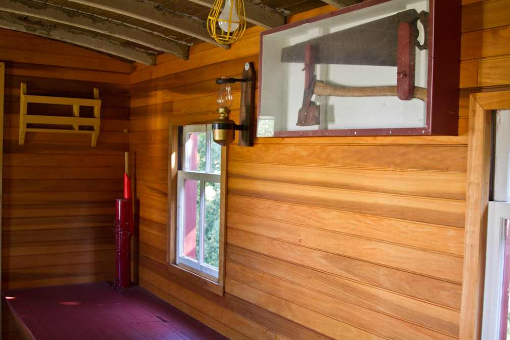 Bunk area with fire tools (top right) and flare canister (left)