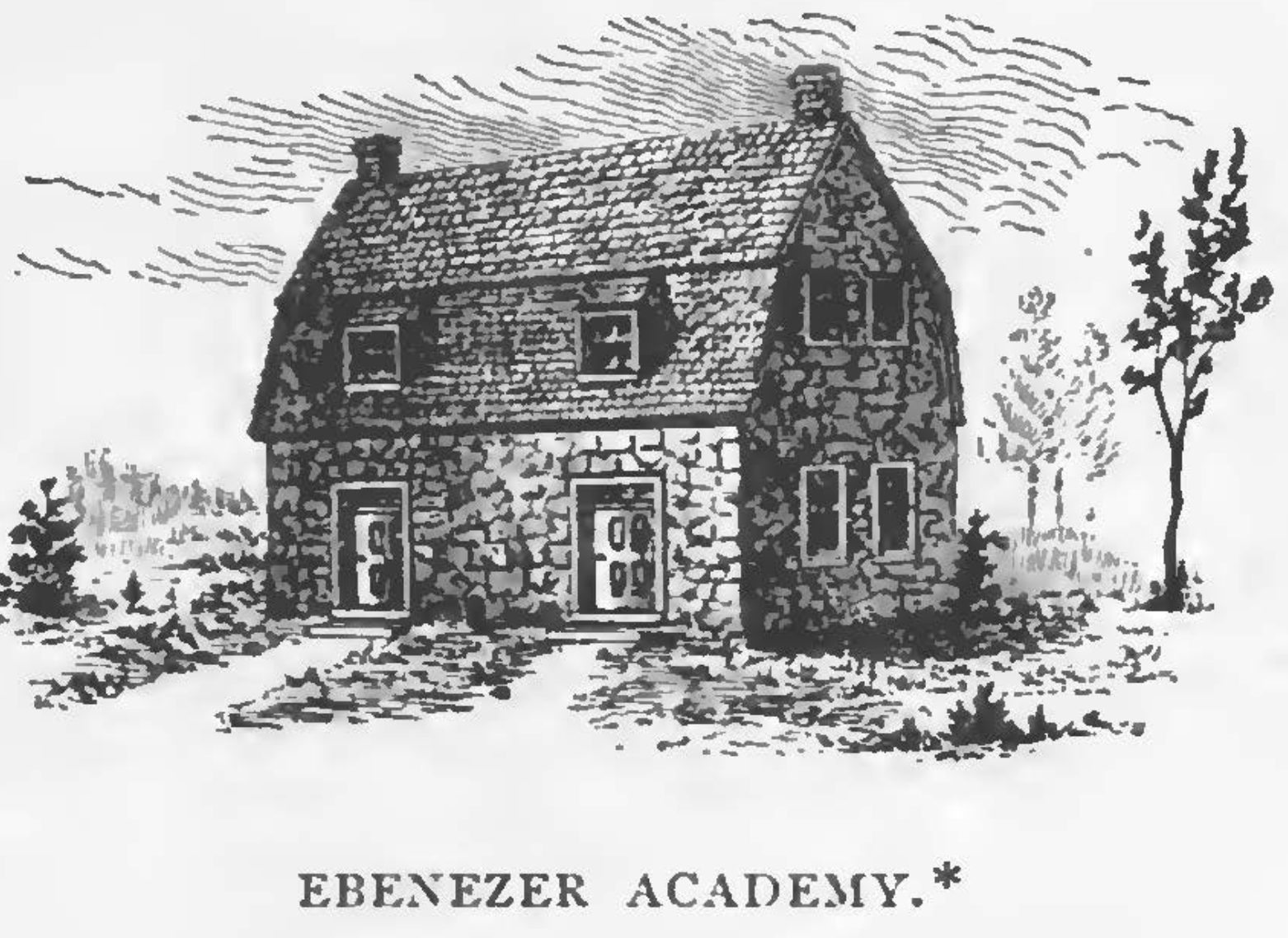 Drawing of Ebenezer Academy before the structure was razed.