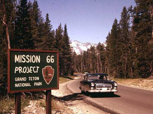 Mission 66 addressed nationwide problems with Park infrastructure, including roads, park housing, visitor centers, picnic areas, and trails. National Park Service photo.