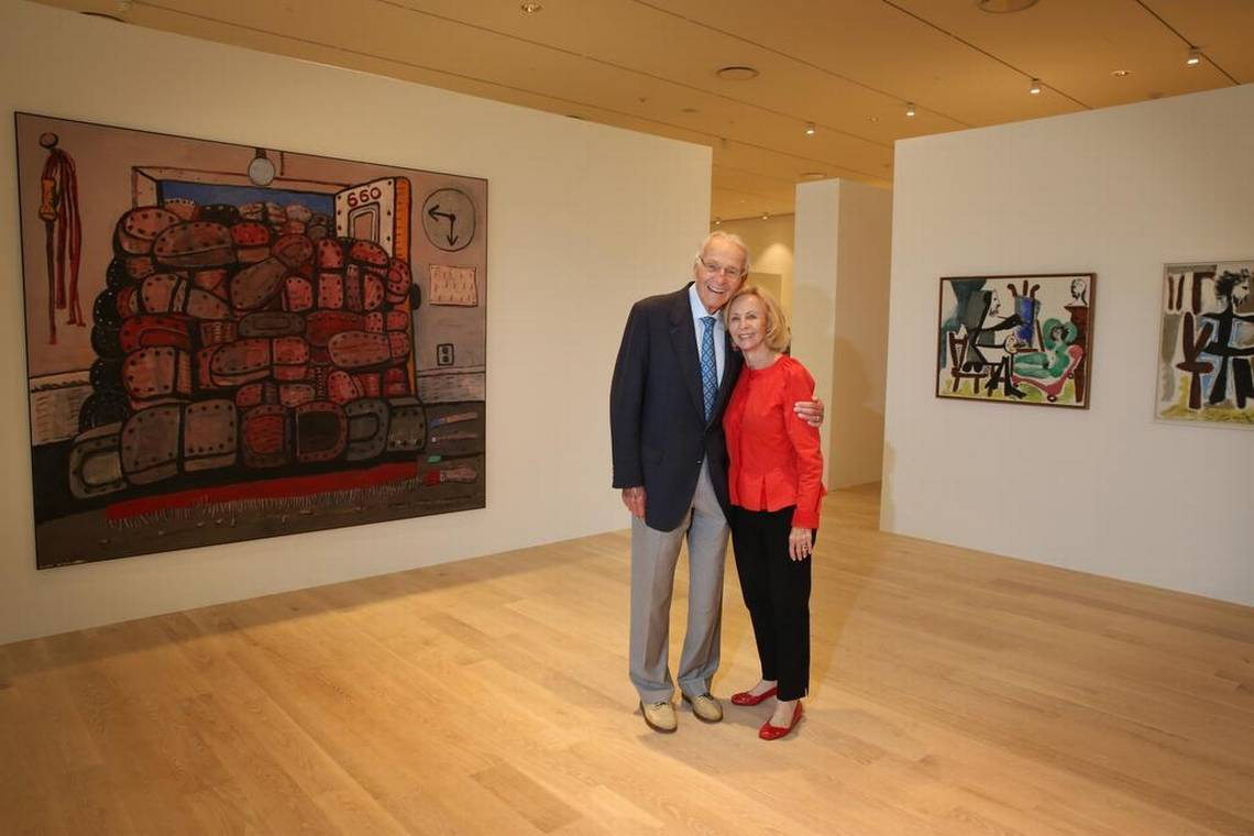 Norman and Irma Braman stand in a third floor exhibit at the brand new Institute for Contemporary Art.