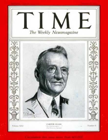 Senator Carter Glass on the Cover of Times Magazine, 1933